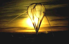 Sunrise behind stratospheric balloon